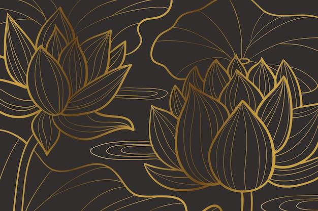 Sfondo lineare dorato sfumato con forme di ninfea