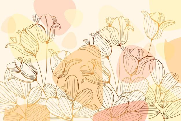 Sfondo floreale lineare dorato sfumato