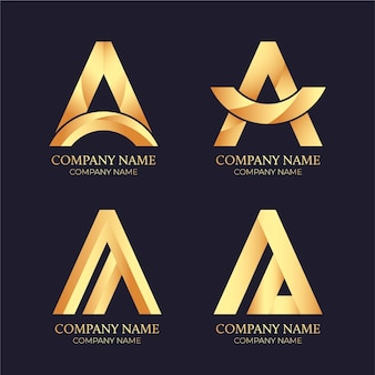 Gradient golden a logo collection