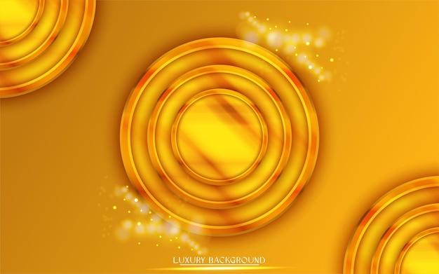 サークルフレームとグラデーションの黄金の豪華な背景