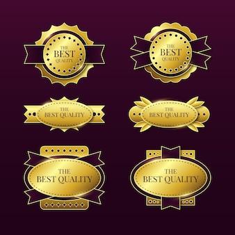 Gradient golden luxury badge collection