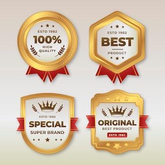 Gradient golden luxury badge pack