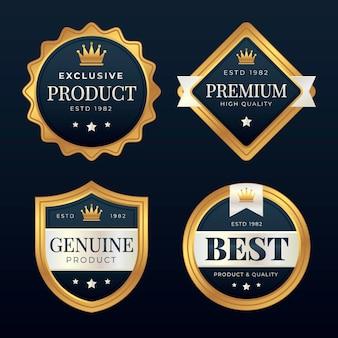 Gradient golden luxury badge set
