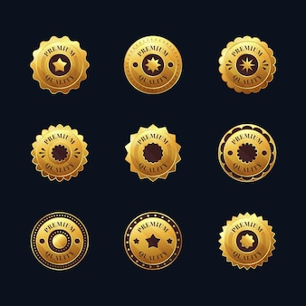 Коллекция градиентных золотых роскошных значков