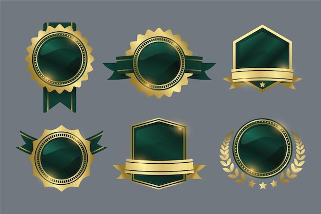 Gradient golden luxury badges collection