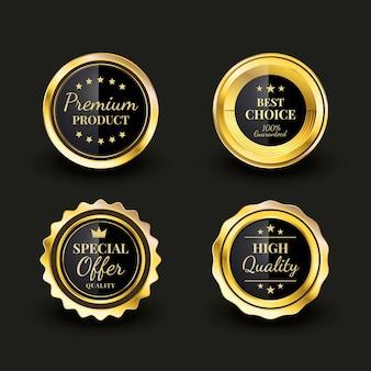 Set di distintivi di lusso dorato sfumato