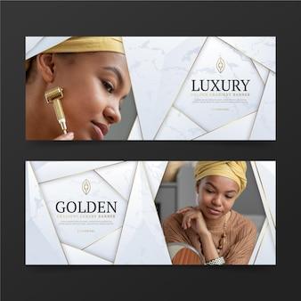 Banner di lusso dorato sfumato con foto