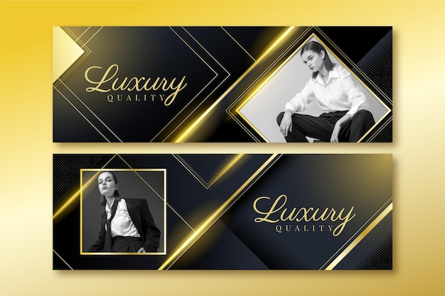 Gradient golden luxury banners set with photo