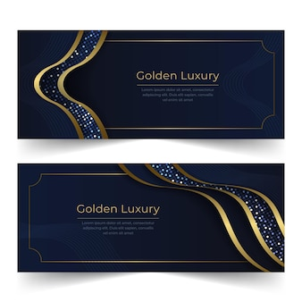 Набор градиентных золотых роскошных баннеров