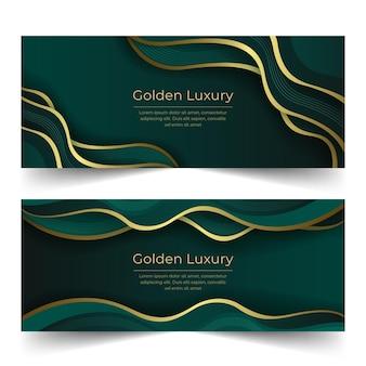 Gradient golden luxury banners set