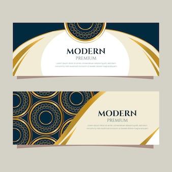Gradient golden luxury banners template