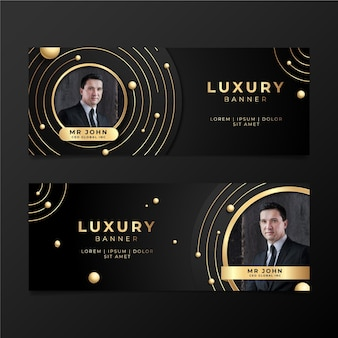 Gradient golden luxury banners with photo