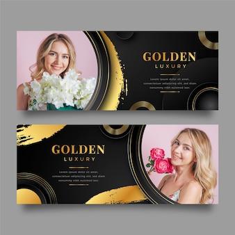 Градиентные золотые роскошные баннеры с фото
