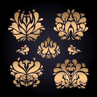 Gradient golden luxury baroque style ornament set