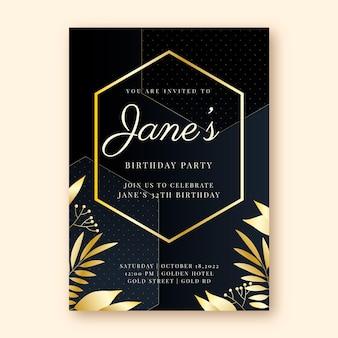 Modello di invito di compleanno di lusso dorato sfumato