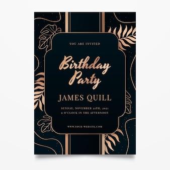 Invito di compleanno di lusso dorato sfumato