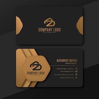 Gradient golden luxury business card template
