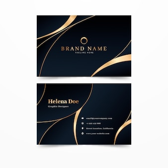 Gradient golden luxury business cards template