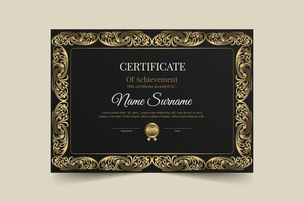 Modello di certificato di lusso dorato sfumato