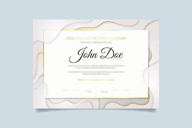 Шаблон сертификата градиента золотой роскоши