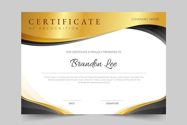 Gradient golden luxury certificate template