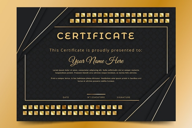 Gradient golden luxury certificate
