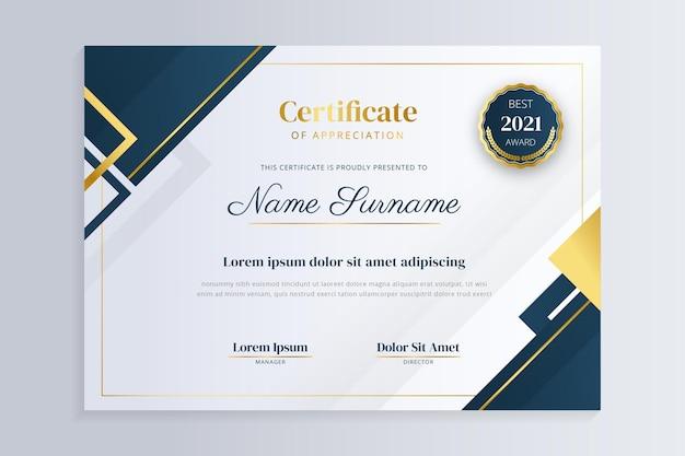Certificato di lusso dorato sfumato