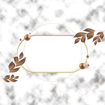 葉が付いているグラデーションの金色の贅沢なフレーム