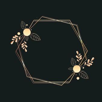 Gradient golden luxury frame with plants