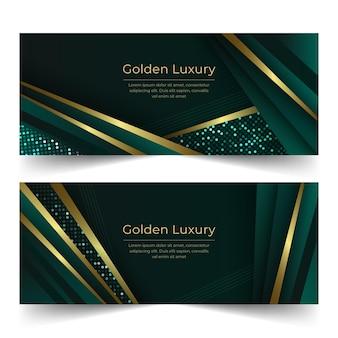 Gradient golden luxury horizontal banners set