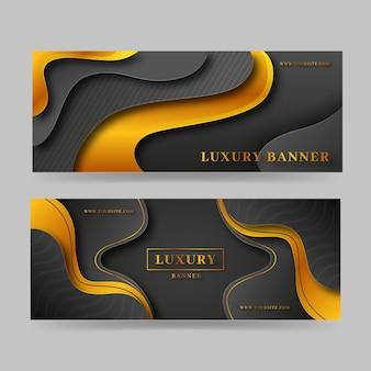 Gradient golden luxury horizontal banners