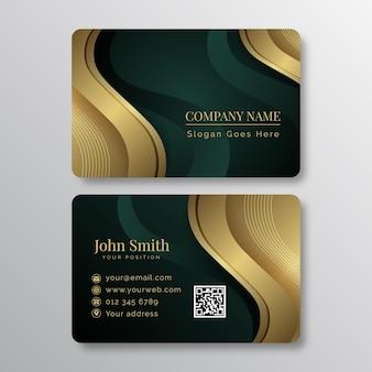 Градиент золотой роскошный горизонтальный шаблон визитной карточки