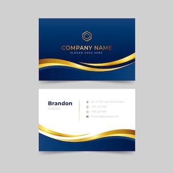 Gradient golden luxury horizontal business card template