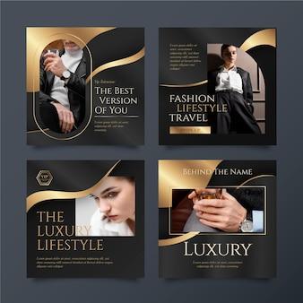 Gradient golden luxury instagram posts