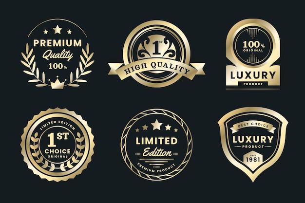Коллекция градиентных золотых роскошных этикеток