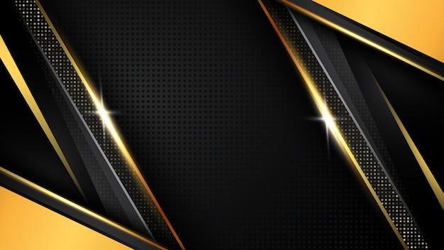グラデーションゴールデンラグジュアリーモダンな背景オーバーラップレイヤーゴールデンジオメトリックとダークブラックデザイン