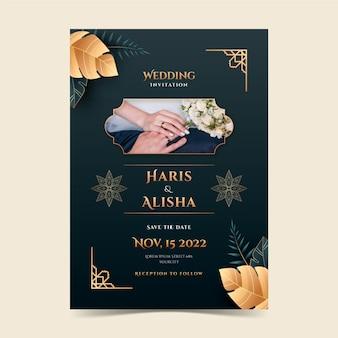 グラデーションの黄金の豪華なイスラム教徒の結婚式の招待状