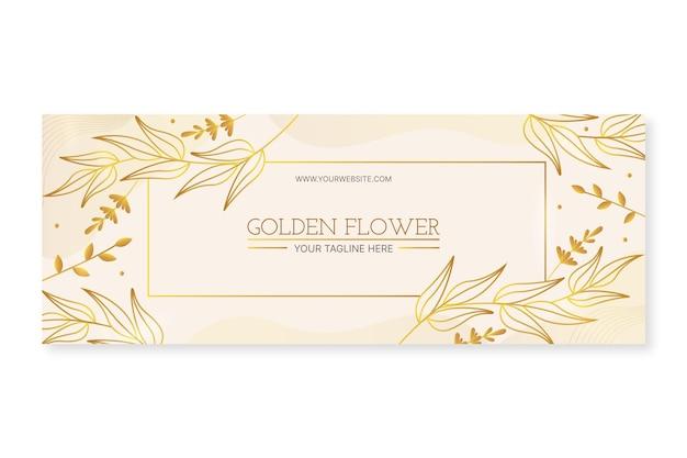 Modello di copertina per social media di lusso dorato sfumato