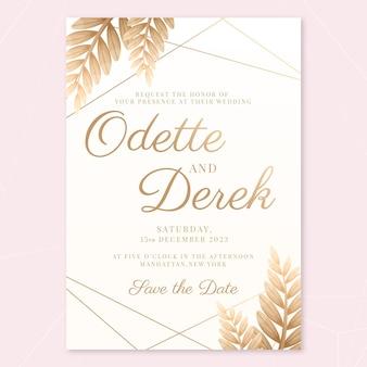 写真付きグラデーションゴールデン豪華な結婚式の招待状のテンプレート