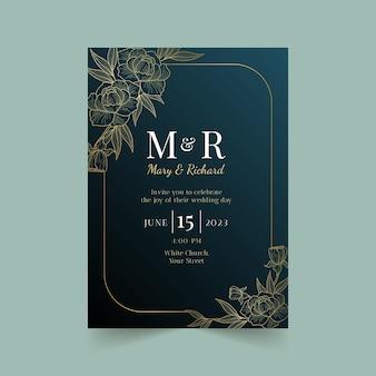 グラデーションの黄金の豪華な結婚式の招待状のテンプレート