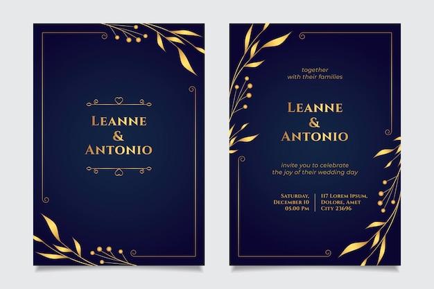 Gradient golden luxury wedding invitation template