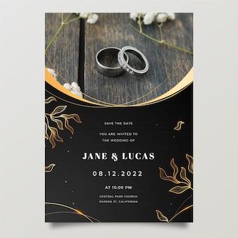 Invito a nozze di lusso dorato sfumato con foto