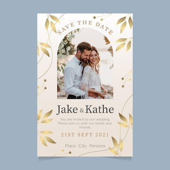 写真付きグラデーションの黄金の豪華な結婚式の招待状