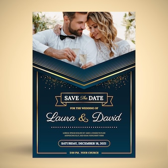 Gradient golden luxury wedding invitation with photo