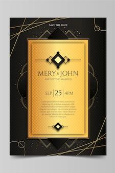 グラデーションの黄金の豪華な結婚式の招待状