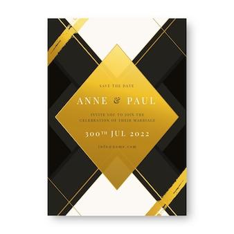 Gradient golden luxury wedding invitation