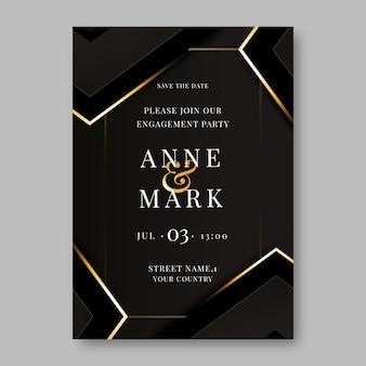 Invito a nozze di lusso dorato sfumato