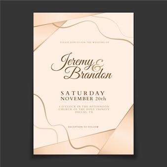 Gradient golden luxury wedding invitation Free Vector