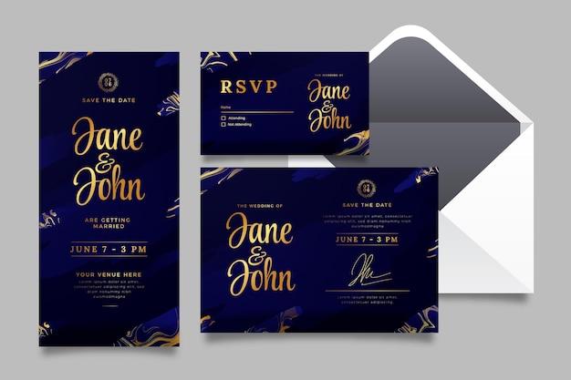Роскошные свадебные канцелярские принадлежности с градиентом золотого цвета