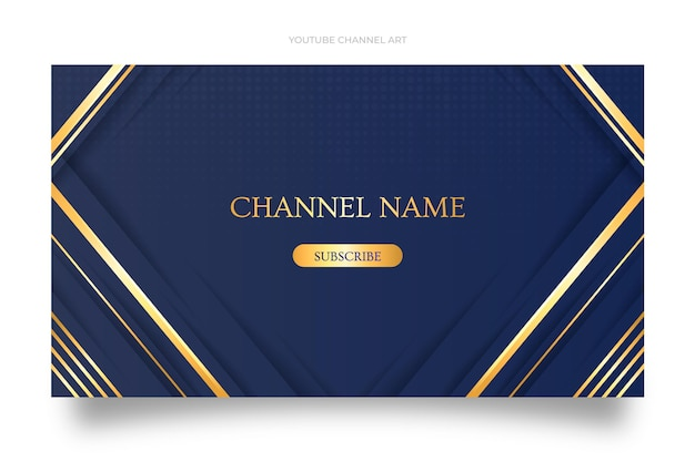 Градиент золотой роскошный шаблон канала youtube